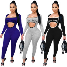 Casual letter square neck BODYSUIT