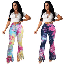 Fashionable tie dyed tassel flared pants