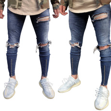 Fashion trend dark blue zipper ripped men's jeans