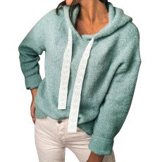 Fashion hooded solid casual top