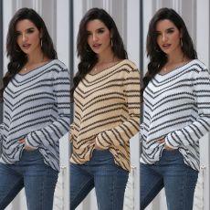 V-neck loose long stripe slim knit