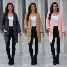 Thin solid color knitted cardigan coat