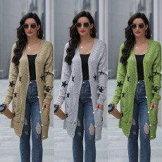 Long star knitted sweater cardigan coat