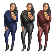 Two piece long sleeve elastic PU leather pencil pants
