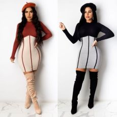 Solid color patchwork Long Sleeve Dress
