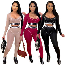 Sexy long sleeve Yoga tight two piece set