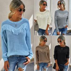 Fashion stitching tassel sweater