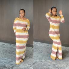 Striped print slit skirt