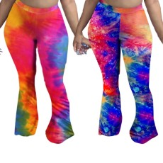 Tie dye casual flared trousers