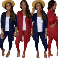 Two piece casual solid color