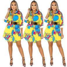 Printed shirt multicolor skirt (belt not included)
