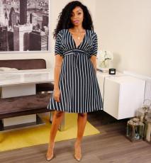 Deep V zipper Stripe Print Dress with belt