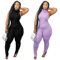 Casual split solid two piece set