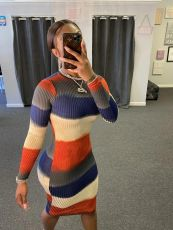Sexy tight stripe Long Sleeve Dress