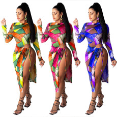 Sexy tie dye long sleeve dress