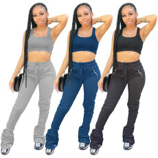 Pleated stacked zipper pocket Sweatpants