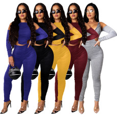 Fashion casual pleated front and back Jumpsuit