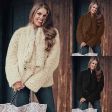 Warm solid color Lapel long sleeve coat thick coat
