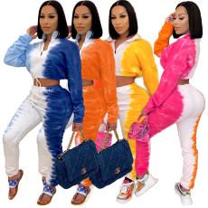 Multi color tie dye sports suit