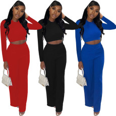 Casual solid color crew neck two piece set