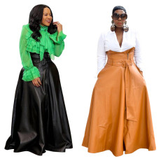 Fashion irregular Pu skirt