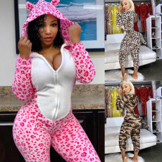 Panther print sexy Jumpsuit with hooded tail