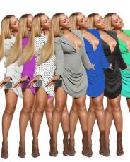 Fashion professional dress V-neck uniform Pleated Dress