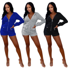 Fashion casual solid color zipper hooded Jumpsuit