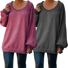 Open back casual loose long sleeve top