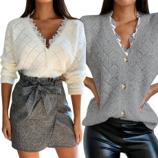 Single breasted Lace Panel fashion casual top