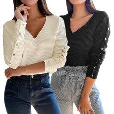Fashion V-neck splicing long sleeve T-shirt