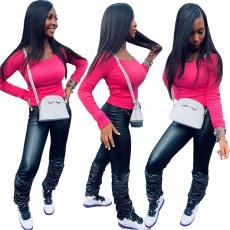 Fashion Top + Pu pleated Pants Set