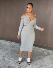 Solid cut out irregular dress
