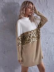 Leopard patch mid length dress