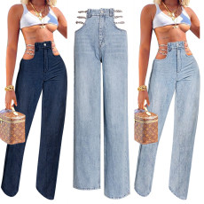 Cut out sexy denim pants