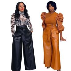 Fashionable PU high waisted pants