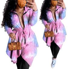 Tie dye print zipper Lapel irregular dress