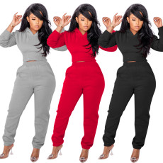 Back tie rope hooded sweatpants set thickened