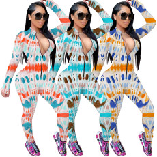 Zipper print fashion Jumpsuit