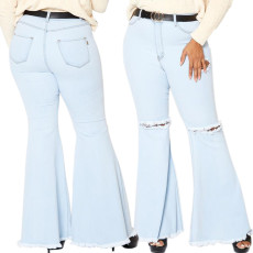 Sexy fashion knee hole stretch slim denim flared pants