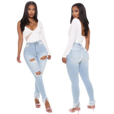 Sexy washed slim stretch leg fringe jeans