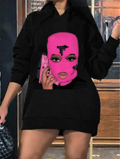 Solid color hooded thickened cartoon print dress