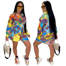 Fashionable sexy printed shirt multicolor skirt