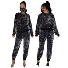 Two piece sequined pencil pants with mask