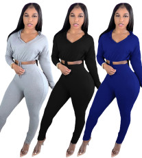 Two piece set of solid color slim casual hoods