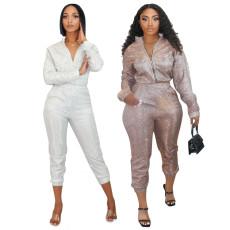 Slim pencil pants sequins two piece set