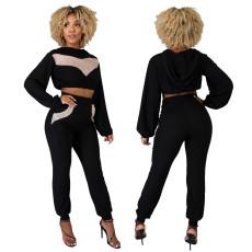 Casual Harem Pants fashion Sequin top two piece set