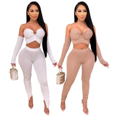 Sexy bra top slim pencil pants with sleeves 4-piece set