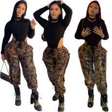 Side lace camouflage corset overalls