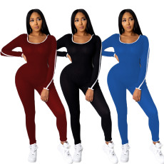 Solid color hooded sexy fashion casual Jumpsuit